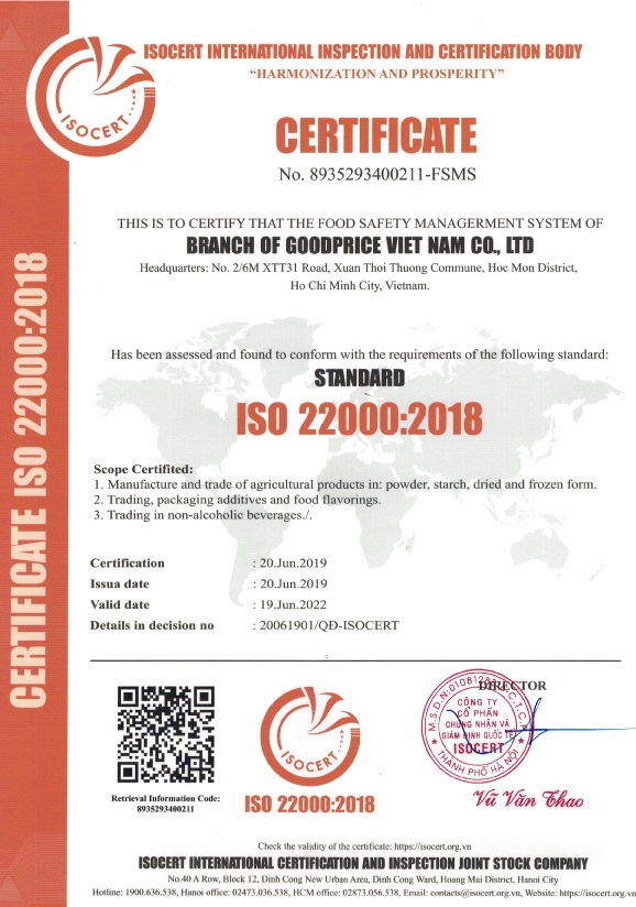giấy chứng nhận iso 22000:2018 công ty goodprice việt nam