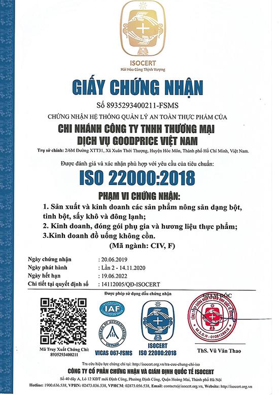 iso 22000:2018 goodprice vn